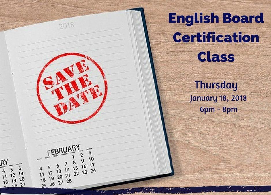 English Board Certification Class