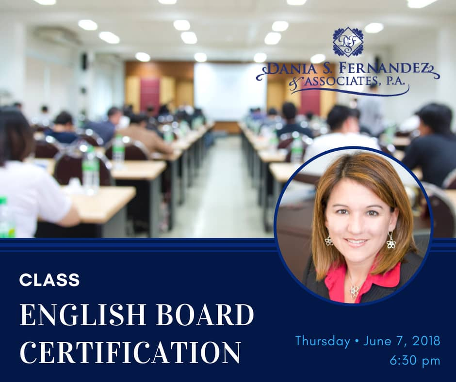 florida condo english certification class