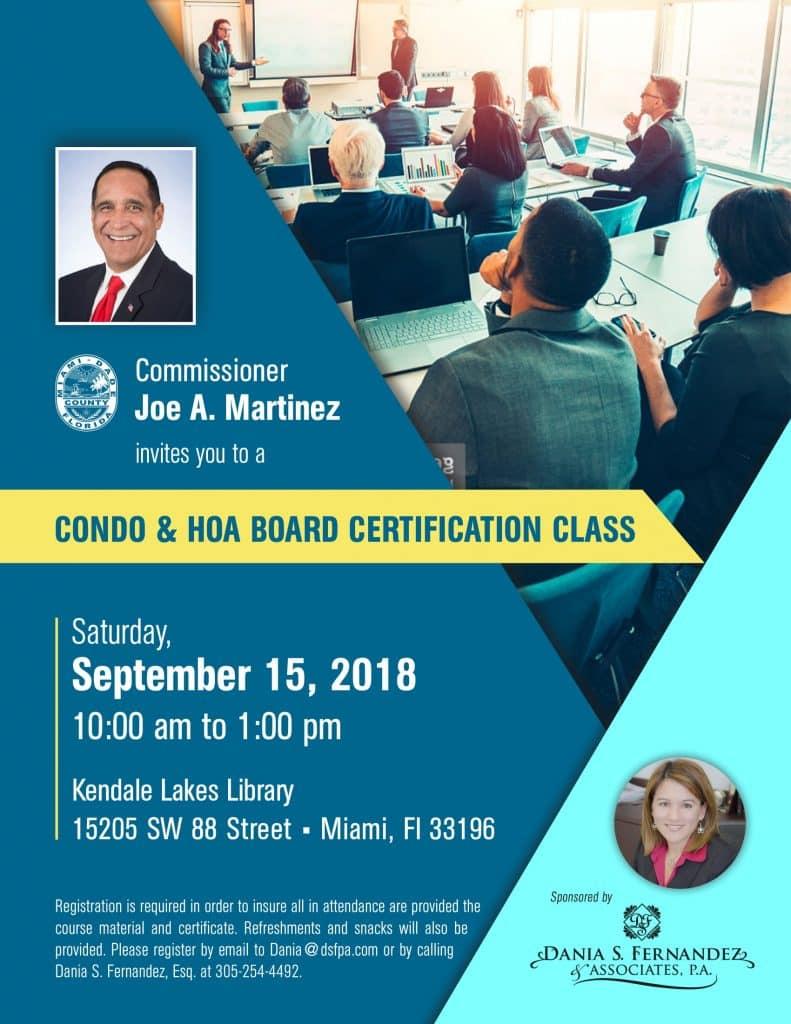 Condo & HOA Board Certification Class flyer