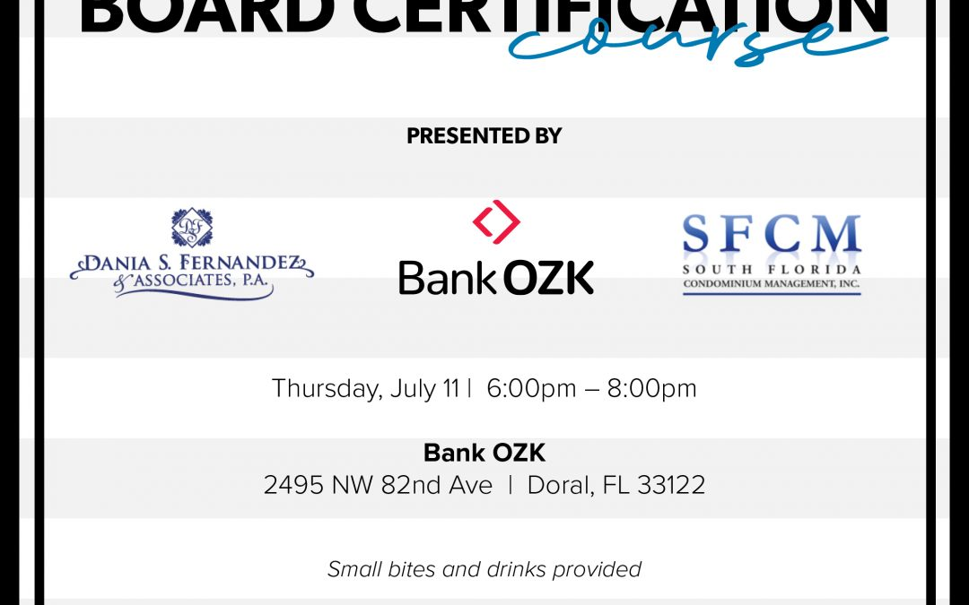Board Certification Course • July 11, 2019