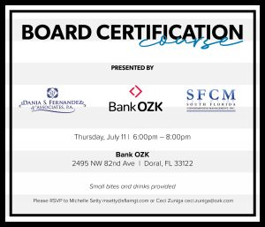Board Certification Course • July 11, 2019